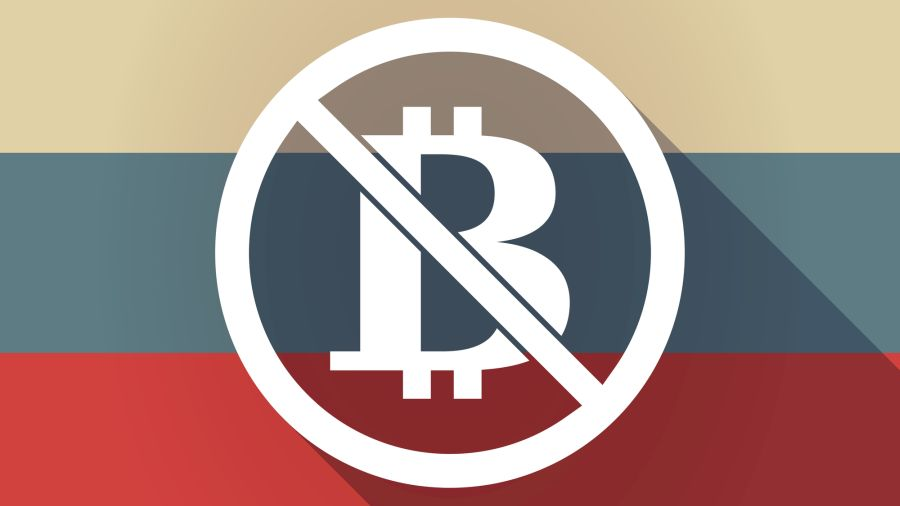 ong shadow Russia flag with  a bitcoin sign  in a not allowed si